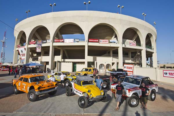 """Mexican 1000 title sponsor General Tire is expected to enjoy a strong presence at the 2014 rally, including two Azunia Tequila-backed vintage sedans (at left), Bill Hernquist's former General-backed Class 5 (foreground) and two-time category winner Boyd Jaynes' Ford Bronco (at right). Both of NORRA's """"Official Pace Trucks"""" will also be part of the event."""