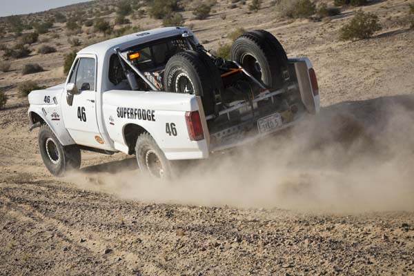 """For 2014 NORRA veteran Dave Sykes and co-driver Scott Steinberger will again share driving duties in their familiar 1972 Ford/Dodge truck known as """"SuperFodge."""" Sykes was the first official entrant for the General Tire NORRA Mexican 1000 at 12:01:40 pm New Year's Day."""